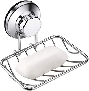 ARCCI Suction Soap Dish, Soap Holder, Super Powerful Vacuum Suction Cup Soap Tray for Shower, Bathroom & Kitchen, Strong Rustproof Stainless Steel Soap Rack