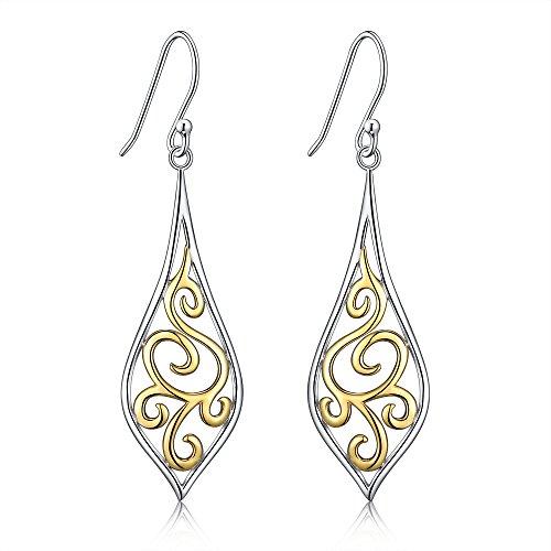 Argento sterling placcato oro 18 K filigrana foglia design con pendenti a goccia per sensibile orecchie da Rinascimento Jewelry - Nuovo prodotto in promozione