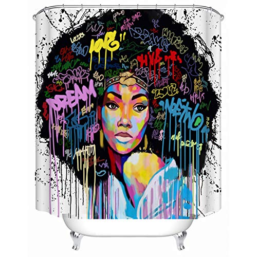 Red Fire African Woman American Black Girl Print Waterproof Fabric Shower Curtain Liner Covered