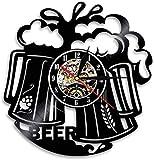 zgfeng Cerveza Pared Arte Reloj de Pared Bar Pub Bar Pub Barman cervecería cervecería Saludos Alcohol Licor Soda Disco de Vinilo Reloj de Pared Regalo