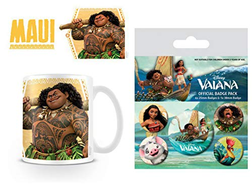1art1 Vaiana, Maui Taza Foto (9x8 cm) Y 1 Vaiana, Set De Chapas (15x10 cm)