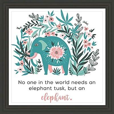"Elephant Decor   7x7"" Elephant Wall Art Ready to Hang   Framed & Packed Elephant Wall Decor   Perfect Wall Decoration as an Elephant Room Decor, Elephant Nursery Wall Decor, Elephant Baby Room Decor"