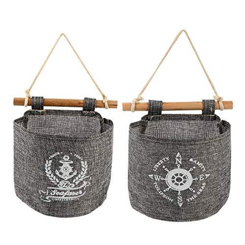TOPBATHY 2 bolsas de almacenamiento para colgar, de tela náutica de lino y algodón, desmontables sobre la pared, para sala de estar, dormitorio, cuarto de baño