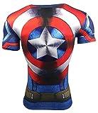 A. M. Sport Camiseta Fitness Compresion Hombre con Dibujos de Superheroes para Entrenar y Hacer...