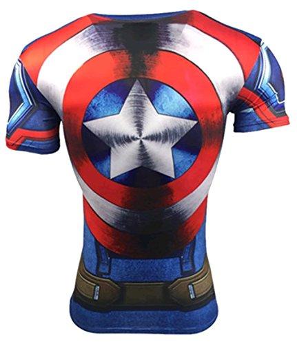 A. M. Sport Camiseta Fitness Compresion Hombre con Dibujos de Superheroes para Entrenar y Hacer Deporte. Licras. (Capitan Tirantes/Escudo) - M