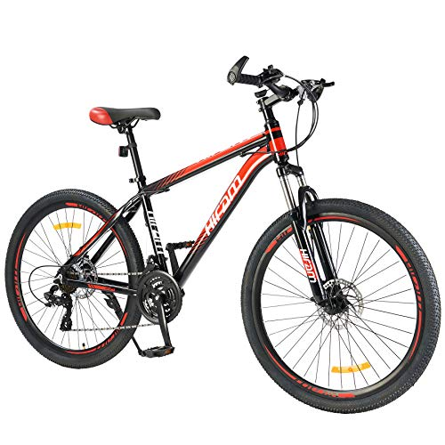 Hiram Men's Mountain Bike Hardtail 24-Speed with 26 Inch Wheels, Lightweight Aluminum Frame MTB Bicycle with Disc Brakes, Adult Bike for Men with 100mm Travel Front Suspension Fork, Red