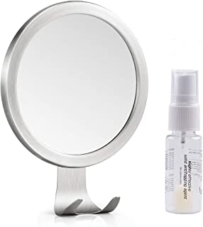 Shower Mirror, LUXEAR Anti Fog Round Shaving Mirror with Solid Fog Free Spray Strong Suction Razor Holder Easy Mirrors Viewing Ideal for Bathroom Home Wall Traveling, Shatterproof