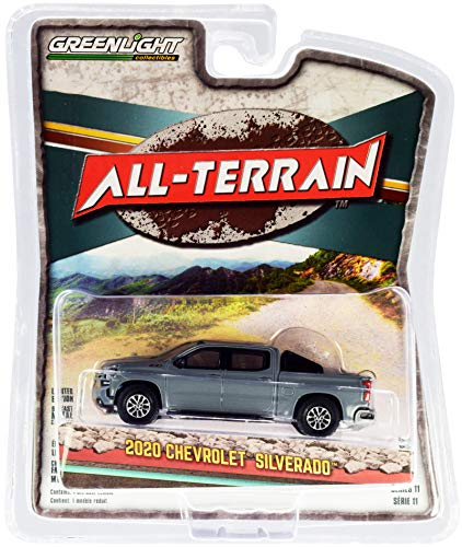 2020 Chevy Silverado Z71 Pickup Truck with Off-Road Parts Satin Steel Gray Met. All Terrain Series 11 1/64 Diecast Model Car by Greenlight 35190 F