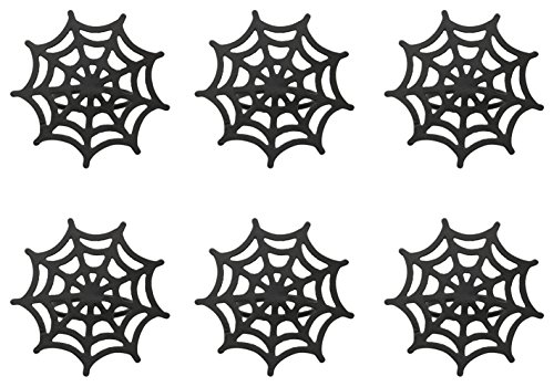 DII Spooky Napkin Rings for Holloween Parties, Themed Gatherings, or When Hosting a Scary Movie Night, Set Your Table With Style - Black Spider Web, Set of 6