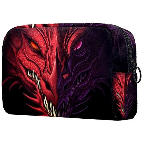 Bolsa de Maquillaje Bolsas de cosméticos de Viaje portátiles, Cabeza de dragón Rojo Enojado
