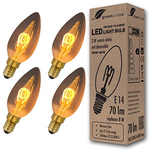 4x greenandco® Vintage Glühfaden LED Kerze silbergrau ersetzt 8W E14 2W 70lm 2200K extra warmweiß 360° 230V nicht dimmbar 2 Jahre Garantie