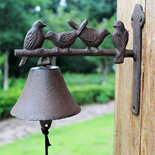 QARYYQ Europese vogels retro gietijzeren klok van smeedijzeren bel wanddecoratie deur decoratie huis decoratie wanddecoratie 20 x 10,8 x 19 cm bel