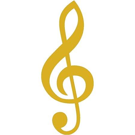Samunshi Violinschlüssel Aufkleber Notenschlüssel In 7 Größen Und 25 Farben 1 6x4cm Goldmetalleffekt Auto