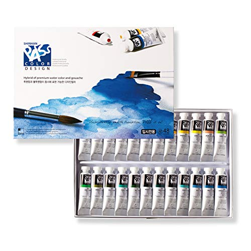 Shinhan Pass Design Color Hybrid of Watercolors and Gouache 20ml Tubes 48 Color Set