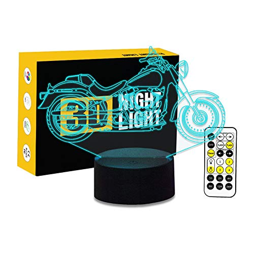 Cirkooh New Motorcycle Motorbike 3D Optical Illusion Table Lamp 7 Colors Change Timing Remote Control and Touch Button LED Night Light