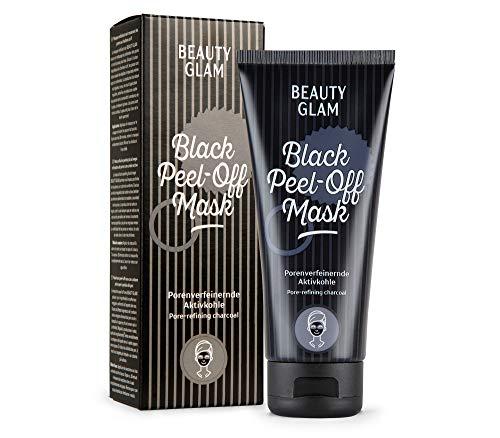 BEAUTY GLAM - Black Peel-Off Mask - Porenverfeinernde Gesichtsmaske mit Aktivkohle - Vegan, ohne Farbstoffe, silikonfrei und parabenfrei - 100 ml
