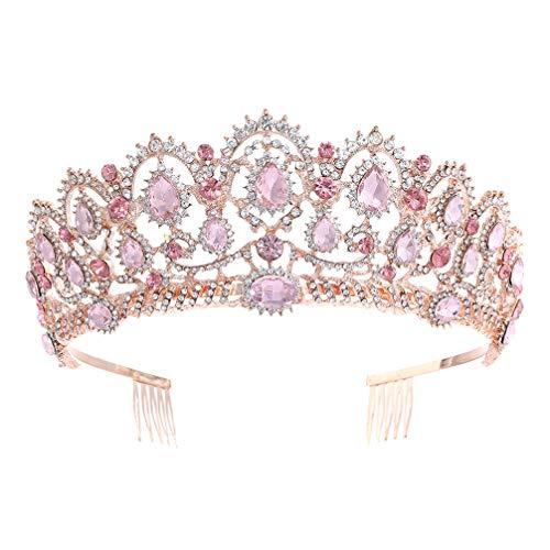 Lurrose Corona da Sposa Sparkle Strass Regina Tiara Corona di Cristallo Vintage Principessa con Pettine Laterale per Matrimonio (Oro Rosa E Rosa)