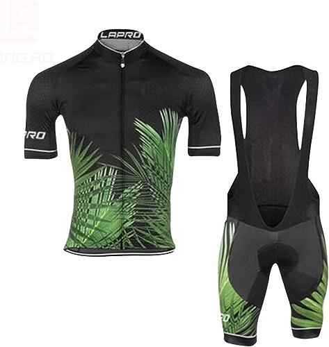 grist CC Maillot Cyclisme Homme Manche Courte Tenue Equipe+Cuissard Court avec Gel 3D Rembourré,Le Cyclisme en Plein air,XL