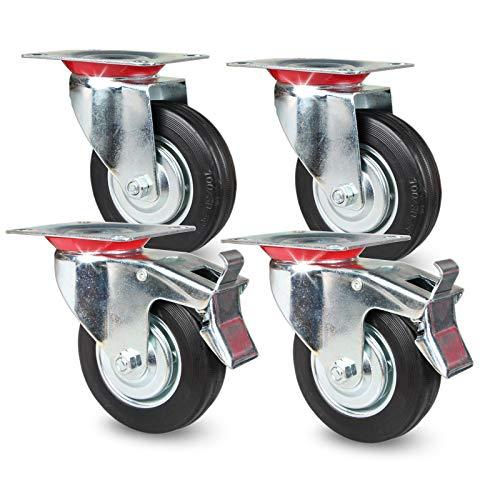 PRIOstahl Transportrollen - Schwerlastrollen, Laufrollen, Lenkrollen mit Bremse | bis 70 KG pro Rolle | 360° Grad drehbar | Raddurchmesser: 100 mm | schwarz (2 Lenkrollen, 2 Bremsrollen)