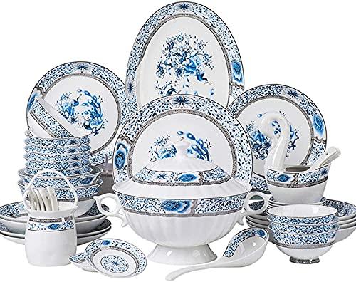 Cuenco de cerámica Juego de vajilla de cerámica, 48 Piezas Juegos de vajilla de Porcelana China de Estilo Chino con Olla de Sopa y Cuenco de Cereal Caja de Regalo de Alta Gama Porcelana