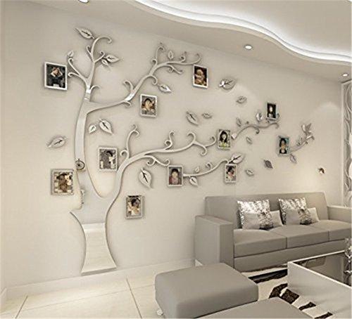 DIY 3D Riesiger Bilderrahmen Baum Wandtattoos Fotorahmen Baum Wandaufkleber Kristall Acryl Malen Wanddeko Wandkunst (Silber, Recht, M)