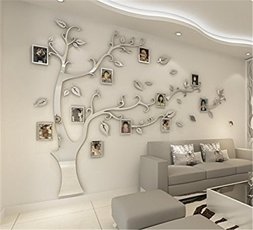 DIY 3D Huge Menory Tree Wall Stickers Crystal Acrylic Photo Frame Tree Wall Decals Wall Murals Home Decorations Arts (XL, Silver, Left to Right)