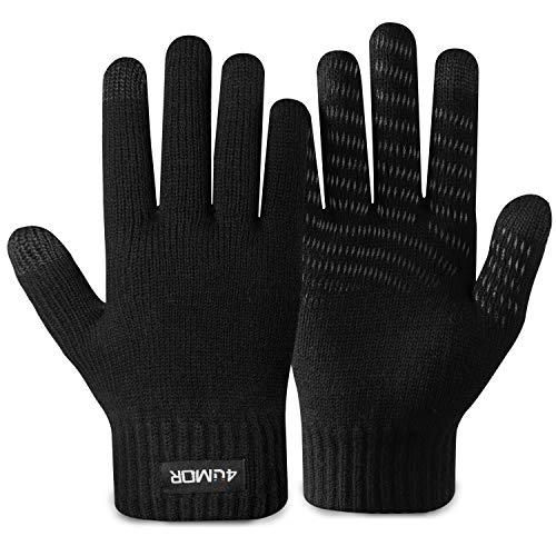 4UMOR Winterhandschuhe Touchscreen Handschuhe Strick Fingerhandschuhe Sport Warm und Winddicht Handschuhe für Skifahren Radfahren bestehen aus 15% Wolle und 85% Polyester Geeinget für Damen und Herren