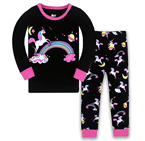 HommyFine Pijama para niñas y niñas, 2 piezas, pijama de manga larga para niñas, unicornio, Pajama, juego para niñas de 2 a 7 años Unicorno 04 130 cm