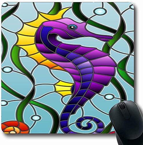 Mauspads für Computer Buntluftglas Fisch Seepferdchen Tierwelt Mosaik Abstrakt Algen Aquarium Blase Karpfen Färbung Design Längliche Form Rutschfeste Längliche Gaming Mausunterlage 30X25CM
