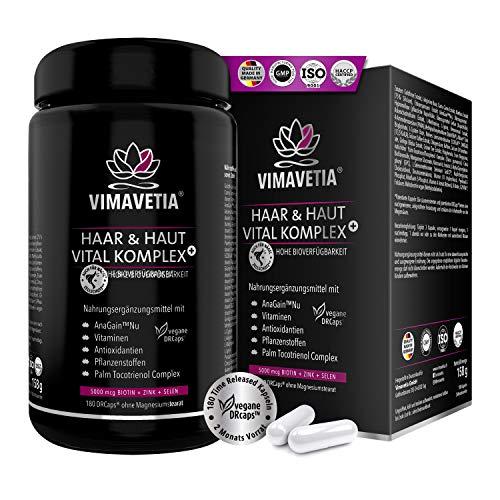 VIMAVETIA HAAR & HAUT VITAL KOMPLEX: Haar-Vitamine, hochdosiert, vegan, AnaGain, Omega-3, Tocotrienol Vitamin E Komplex, Biotin Zink Selen, Silizium, Goldhirse, Haarwachstum, Bartwuchs,180 Haarkapseln