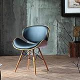Folk Retrò Style DSW Eiffel - Sedia da ufficio in pelle sintetica Nero gambe in legno finitura noce