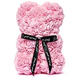 Me Time Joy Rose Teddy Bear Handmade with Artificial Roses - 10' Pink Rose Bear with Box - Flower Bear for Girlfriend - Bonus 'Love Quotes' ebook with The Rose Bear Teddy - Forever Flower Teddy Bear
