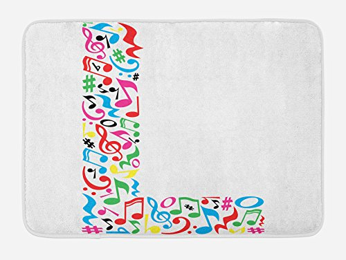 "Ambesonne Letter L Bath Mat, Capital Sign a Musical Inspiration Design Vibrant Color Palette ABC Print, Plush Bathroom Decor Mat with Non Slip Backing, 29.5"" X 17.5"", Multicolor"