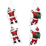 [lux.pro] Weihnachtsmänner auf Leiter 65cm-25cm Weihnachts Mann Deko Weihnachten Figur Nikolaus