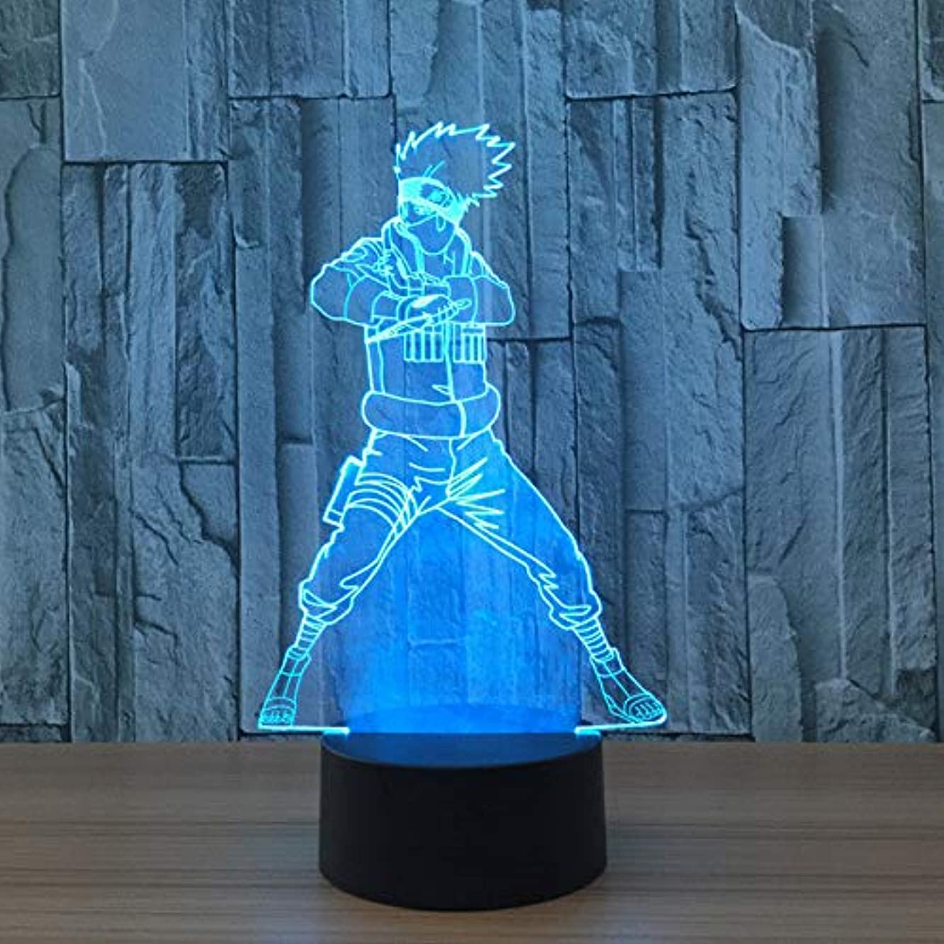 LLWWRR1 7 Colors 3D Led Lamp Naruto Action Figure Kakashi Night Lights 3D Visual Lights Desk Luminaria Touch Switch Lamp Creative Gifts