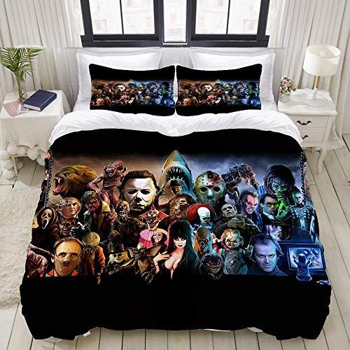 Jnsio Reversible Beige Duvet Cover Classic Horror Movies Home Hotel Dorm Decorative Bedding Set + 2 Pillow Cases C113