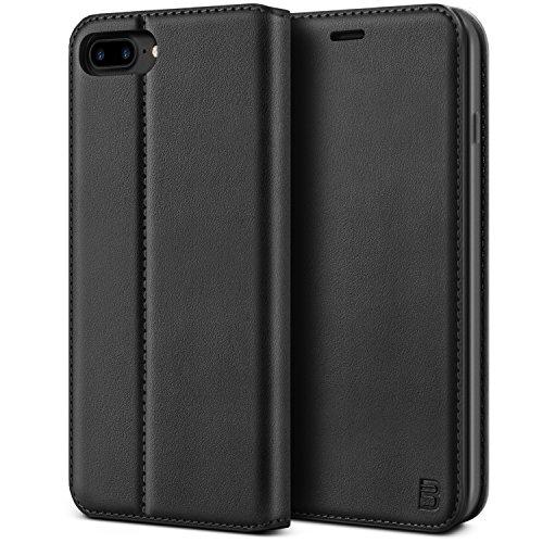 BEZ Handyhülle für iPhone 8 Plus Hülle, Tasche Kompatibel für iPhone 7 Plus Hülle klappbar aus Klappetui mit Kreditkartenhaltern, Ständer, Magnetverschluss - Schwarz