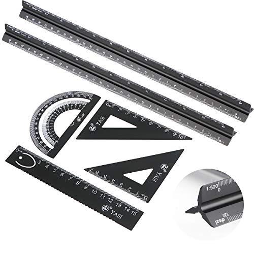 Seamuing Dreikantmaßstab Maßstab Lineal, 6 Stück Aluminium Lineal Architekt Metall Geodreieck Set für Architekten 2 Stück 30cm Dreieck Architekt Waage Lineal + 4 Stück Dreieck Lineal Set