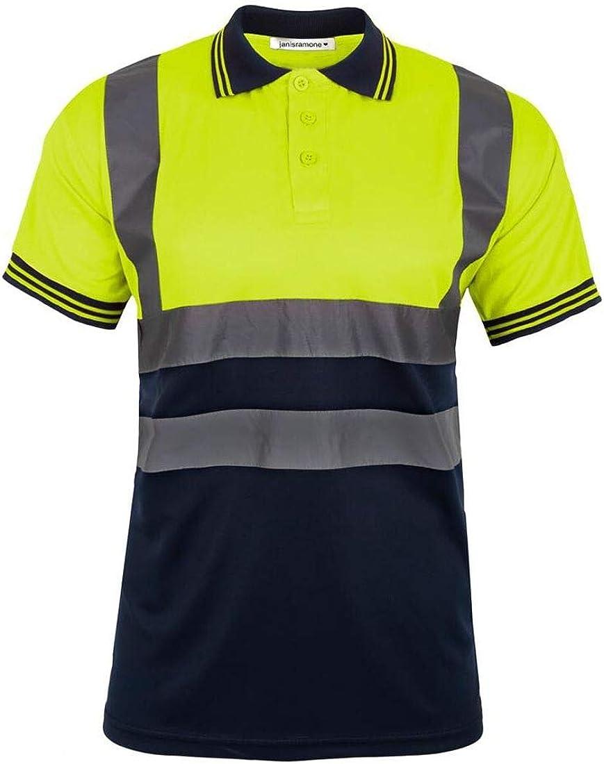 Hamishkane New Mens Hi Vis Reflective High Viz Visibility Polo Shirt Safety Work Wear T-Shirt