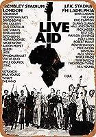 TIBB 1985 Live Aid Londonフィラデルフィア レトロなスタイルの鉄板金壁ティンサインリビングプラークポスターノスタルジックなアート装飾8X12インチ