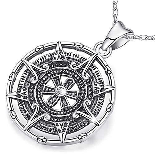 TKFY Compass Halskette für Frauen Sterling Silber Freundschaft Anhänger Halskette Geschenke Retro Maya-Kalender-Abschluss Personalisierte Schmuck Charm Senden Empfindliche Geschenkbox