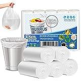 XUXRUS Bolsas de basura de 10 l, 120 unidades, pequeñas bolsas de basura orgánicas de 10 l, biodegradables, material de almidón de maíz reciclado, bolsas de basura para guía de cocina, salón,blanco
