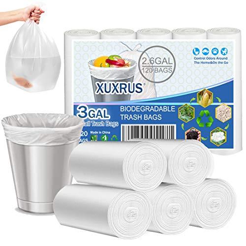 Bolsas de basura de 10 l, 120 unidades, pequeñas bolsas de basura orgánicas de 10 l, biodegradables, material de almidón de maíz reciclado, bolsas de basura para guía de cocina, salón,blanco
