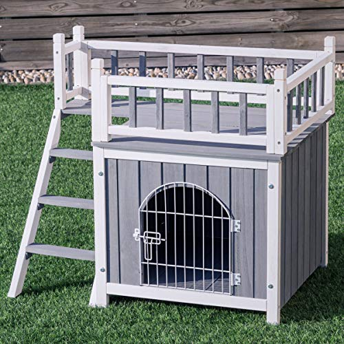 TANGKULA Pet House Wooden Outdoor Indoor Dog Cat Puppy House Room with a View (M)