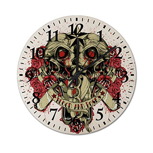 DKISEE Silent Wooden Wall Clock Rose and Skull Decorative Simple Round