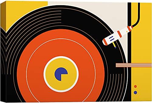 Tocadiscos de vinilo retro para pared con lápiz, sonidos, ilustraciones de música pop Art vintage colorido para sala de estar, dormitorio, oficina, marco de 8 x 12 pulgadas