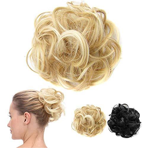 Ealicere1 Stück Haarteil Haargummi Hair Extensions, Synthetik Haare für Haarknoten Hochsteckfrisuren, Unordentlicher Dutt Gummiband Haarverlängerung Haarband