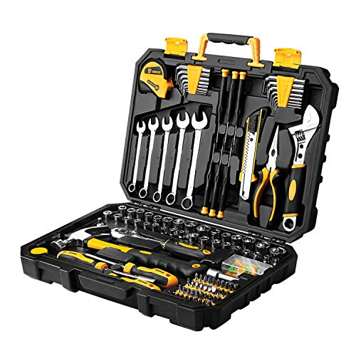 DEKOPRO 158 Piece Tool SetGeneral Household Hand Tool KitAuto Repair Tool Set with Plastic Toolbox Storage Case