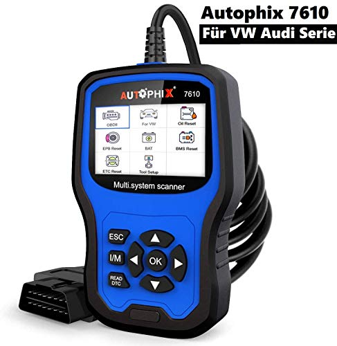 AUTOPHIX OBD2 Diagnosegerät für VW Audi Serie alle Systeme mit 8 Sonderfunktionen,Auto Codeleser Scanner mit ABS SRS Batterieprüfung EPB/Öl/BMS-Reset DPF/TPS Service usw(7610)