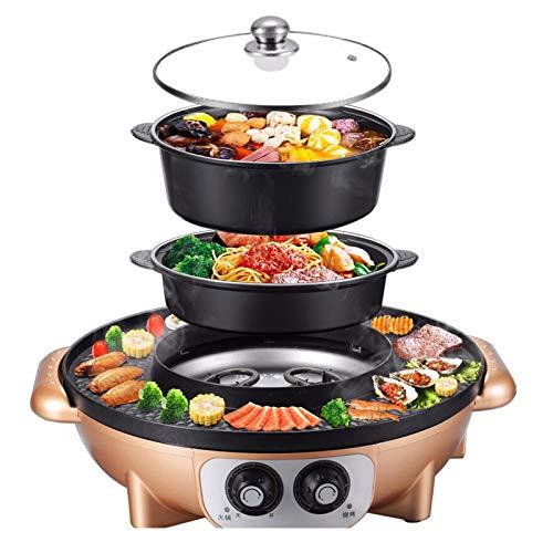 Ljings 2200W 2 in 1 Elektrischer Rauchfreier Grill Und Heißer Topf, Koreanischer Grill-Shabu-Topf, Mit Grillpfanne, Separater Doppeltemperaturregelung, Separater Reinigung